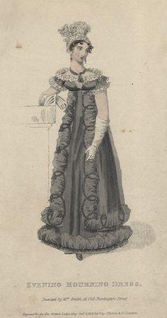December evening mourning dress, 1818 England, British Lady's Magazine