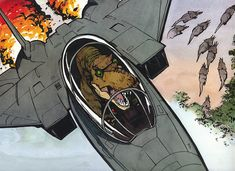 Calvin (from Calvin and Hobbes) as a t-rex in a fighter jet. Calvin and Hobbes was the best!