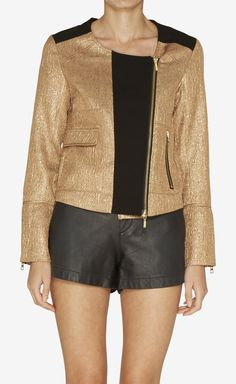 Twelfth Street by Cynthia Vincent Gold Motorcycle Gold Metallic Jacket Blazer | VAUNTE