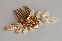 Hair Comb - Vintage Style Hair Accessories - Gold Crystal Flower- Bridal Hair Pieces - Hair Jewelry - Wedding Hair Combs - Lace and Pearls