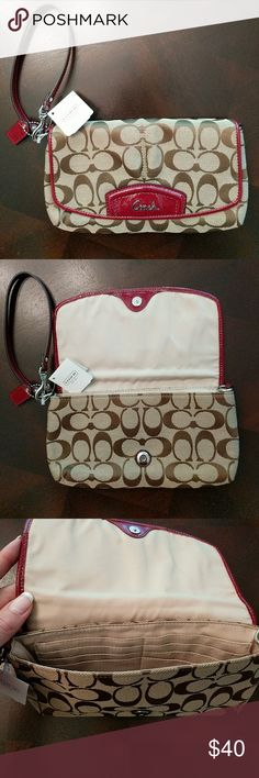 Coach Wristlet New with tags authentic Coach wristlet. Never used before - received as a gift but was not my style! Coach Bags Clutches & Wristlets