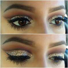 i love the glitter, however the eyeliner makes the look a little to harsh. Minimalist look: Gold Glitter Mascara Filled in brows Hold back with the eyeshadow TOO MUCH IS NEVER GOOD. Kiss Makeup, Love Makeup, Beauty Makeup, Dance Makeup, Pretty Makeup, Eyeliner Makeup, Black Eyeliner, Perfect Makeup, Hair Beauty
