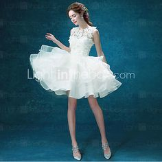 A-line Wedding Dress - Chic & Modern Little White Dresses Short / Mini Jewel Organza / Tulle with Appliques / Beading - USD $79.99