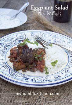 Eggplant Salad with Meatballs | myhumblekitchen.com
