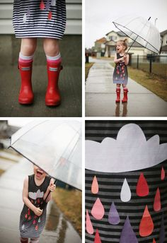 I want to make something like this. (Supplies: A white and black stripe knit, black or grey fabric dye {could go from black to grey stripes to white stripes}, Cloud template, fabric for raindrops, or fabric paint!)