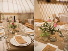 Rustic Country Wedding with hessian tablecloths and pebbles
