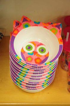Children's plastic owl bowls (pink or brown/blue).  £4.95.  Charlie6.