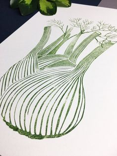 Fennel Lino Print Green Handprinted Linocut Linoprint | Etsy Linocut Prints, Art Prints, Block Prints, Recipe Book Design, Vegetable Prints, Science Illustration, Font Art, Art Diary, Linoprint