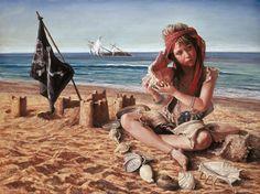 L'echo des combats héroïques - Peinture,  130x98 cm ©2005 par Alexandre Barbera-Ivanoff -                                                                                            Art figuratif, Toile, Bateau à voile, Enfants, Plage, Portraits