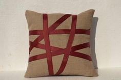 Burlap pillow cover with ribbon - Decorative cushion cover-Valentine gift - Easter decor- Throw pillow 16X16