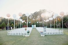 Rent white chairs for the ceremony and tie up big balloons