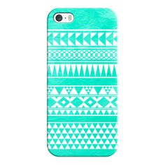 iPhone 6 Plus/6/5/5s/5c Case - Cute Girly Mint Turquoise White Tribal... ($35) ❤…