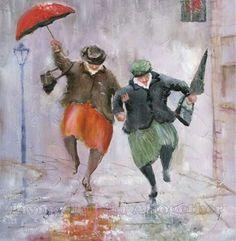Art And Illustration, Watercolor Paintings, Original Paintings, Watercolours, Rain Art, Umbrella Art, Dancing In The Rain, Rain Dance, Painting & Drawing