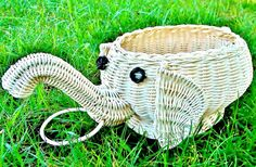 Super Cute Green Eco Friendly White Natural Rattan Wicker African Elephant Storage Basket Shabby Cottage Chic. Cool!