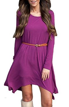 KUFV Womens Elegant Long Sleeve Solid Color Crew Neck Irregular Dress with Belt -- Awesome products selected by Anna Churchill