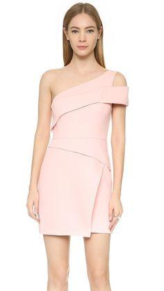 BCBG Max Azria Benett Cutout One-Shoulder Mini Dress in Soft Petal
