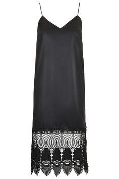 Photo 1 of Wet-Look Lace Hem Slip Dress