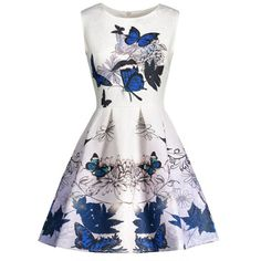 2c6476b1c9b Butterfly Print Sleeveless Skater Dress