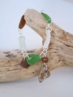 Multi-Colored Sea Glass with Brown Heart