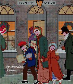 0 point de croix mere et enfants shopping  - cross stitch vintage mother and…