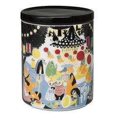 Arabia's Friendship jar is adorned with a lovely, colourful pattern. The Moomin Friendship collection features illustrations based on Tove Jansson's storybook, Who Will Comfort Toffle? Ceramic Jars, Porcelain Ceramics, Scandinavian Design Centre, Tove Jansson, Christmas Mugs, Vintage Tins, Jar Storage, Vintage Pottery, Finland
