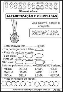 Atividades sobre olimpíadas 2016 e alfabetização