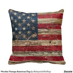 Wooden Vintage American Flag Pillows