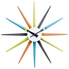 Starburst Clock is a modern replica of the George Nelson Sunburst Clock. A classic designer furniture reproduction with a width and height. Modern Clock, Modern Wall, Mid-century Modern, Sunburst Clock, George Nelson, Retro Home Decor, Mid Century Modern Furniture, Decoration, Cool Furniture