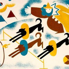 "«""Cirkus"": Elizabeth Ivanovsky. Page from her 1933 children's book. She was a wonderful illustrator, fleeing Russia in the 20s, settling in Belguim»."