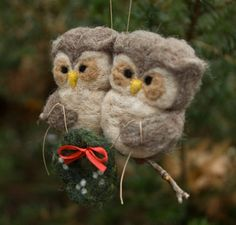 Needle Felted Owl Ornament Couple Holding Wreath by scratchcraft
