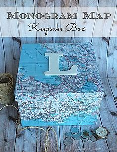 get organized with this diy sentimental map keepsake box, crafts, decoupage, Great gift Idea or just for you Make this beautiful Monogram Map Keepsake Box full tutorial and supply list included