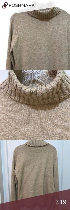 """L.L. Bean Turtleneck 60% cotton, 40% acrylic Turtleneck that has been worn but is still in nice shape. It's a mix of white and """"caramel"""" colored yarn and is generally light weight. Pit to pit: 21"""", inner sleeve: 19"""" with cuff turned up, edge of shoulder to hem: 25"""" L.L. Bean Sweaters Cowl & Turtlenecks"""