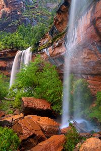 Emerald Pools Trail- 2 miles, waterfalls full flow in spring (not sure how they are late summer) easy, must-do hike