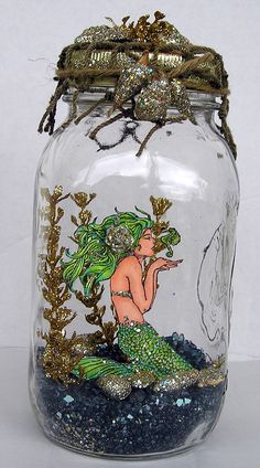 Mermaid in a jar is amazing. It features Mermaid plus Glass Glitters, Embossing Enamels and all kinds of goodness. Fairy garden in a jar! Mason Jar Crafts, Mason Jar Diy, Bottle Crafts, Mermaid Crafts, Mermaid Art, Mermaid Room, Fun Crafts, Diy And Crafts, Josie Loves