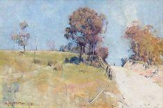 Sunlight (Cutting on a hot road) Canvas Art - Arthur Streeton x Australian Painting, Australian Artists, Abstract Landscape, Landscape Paintings, Landscapes, Watercolor Landscape, Kunst Poster, Social Art, Impressionist Paintings