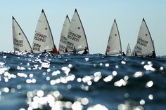 Radial Open Laser sailing at Al-Musannah Sports City Great White Attack, Small Sailboats, Marti, Sport Inspiration, Sail Boats, Dinghy, Beautiful Ocean, Windsurfing, Set Sail
