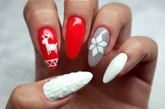 Winter nails at its finest. | 21 Nail Art Designs That Will Make You Feel Christmassy AF                                                                                                                                                                                 More