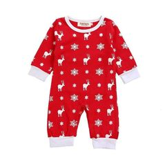 Red Snowflake Christmas Reindeer Romper Buy it today from www.presentbaby.com  We sell a wide array of baby clothing, socks, shoes, bottles, blankets and more. For more information visit our website today.  #gender #funny #clothes #infant #baby #summer #r https://presentbaby.com