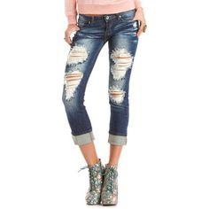 Machine Jeans Destroyed Boyfriend Jean ($35) ❤ liked on Polyvore