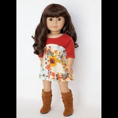 """Tri-City Knit 18"""" Doll Clothes   The Orignials By Gaby Tri-City Knit 18 inch Doll clothes pattern. Create anything from a cute t-shirt to a fun party dress with this versatile pattern!"""