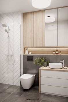 Walk in, kolor drewna, podswietlenie i polka na kosmetyki Diy Bathroom Decor, Bathroom Renos, Modern Bathroom Design, Bathroom Interior Design, Bathroom Renovations, Bathroom Storage, Bathroom Cabinets, Bathroom Ideas, Toilet Storage