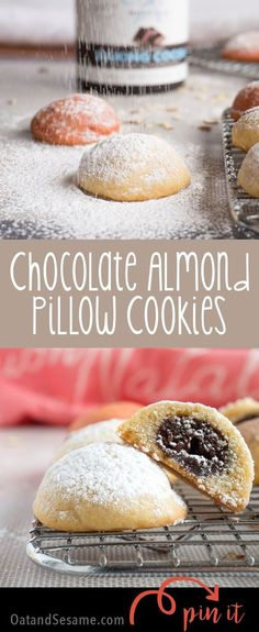 Chocolate Almond Pillow Cookies have a secret to reveal. Inside these puffy little gems is a pocket of chocolate almond delight. | #Christmas | #COOKIES | Holiday Baking | Almond LOVE | #COOKIES | #Recipes at OatandSesame.com