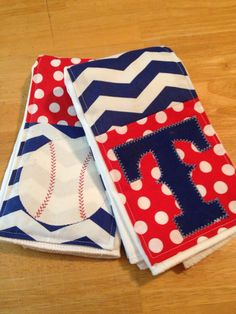 Baseball embellished burp cloths for any lil sports fan. An embellished cloth diaper makes for a adorable set of burp rags. Made from 6 Ply