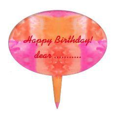 Abstract pink orange whimsical watercolor cake toppers