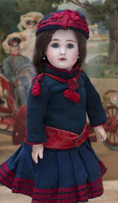 """15"""" (38 cm) Antique French Bisque Bebe Steiner Doll,Figure A,with Original Signed Body and antique costume, cabinet size! Antique dolls at Respectfulbear.com"""