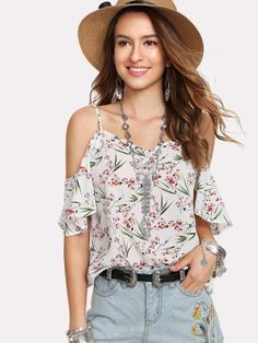 To find out about the Botanical Print Cold Shoulder Top at SHEIN, part of our latest Blouses ready to shop online today! Floral Cold Shoulder Top, Mi Long, Summer Shirts, Half Sleeves, Female Models, Sleeve Styles, Fashion News, Ootd Fashion, Trendy Outfits