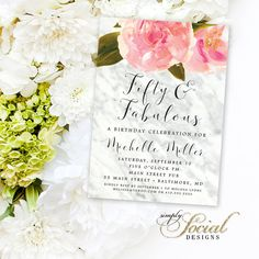 Carrara Marble and Pink Floral Birthday Invitation - Fifty and Fabulous 60th 50th 40th Custom Printable Invitation