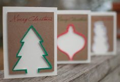 Flocked Christmas silhouette shape cards  unique by CaryMuller, $12.00