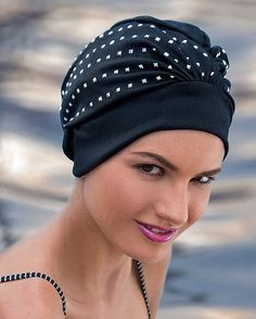 Ladies Fashy Swimming Hat Black PVC Rose Vintage Style One Size Good Easy Fit