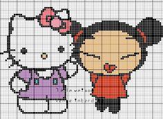 Grille gratuite : Hello kitty & pucca - Le blog de 7 à la maison, point de croix, tricot, grilles gratuites...